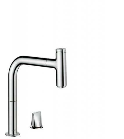 hansgrohe Metris Select M71 2-hole single lever kitchen mixer 200, pull-out spout, 1jet, sBox