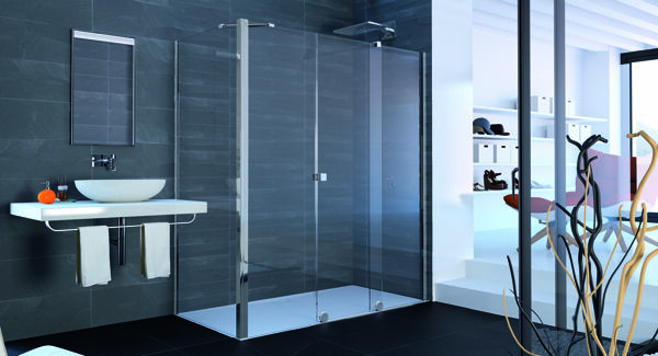 HÜPPE Xtensa pure side panel for sliding door 1-part with fixed segment and side panel width:100cm Stop left & right