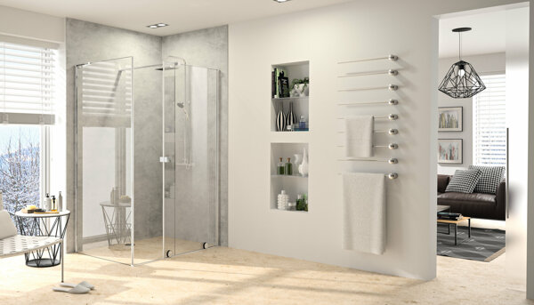 HÜPPE Xtensa pure side panel for Walk-In sliding door 1-part with fixed segment width:100cm stop left & right