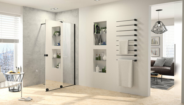 HÜPPE Xtensa pure Walk-In sliding door 1-piece with fixed segment Width:120cm Stop right