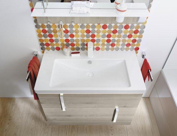 Burgbad Eqio Keramik-Waschtisch inklusive Waschtischunterschrank und LED-Waschtischunterschrankbeleuchtung, Breite 930 mm, Griff: Griff G0146