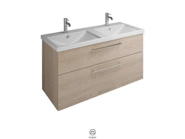 Burgbad Eqio ceramic double wash basin including vanity unit SEYS123, width 1230 mm