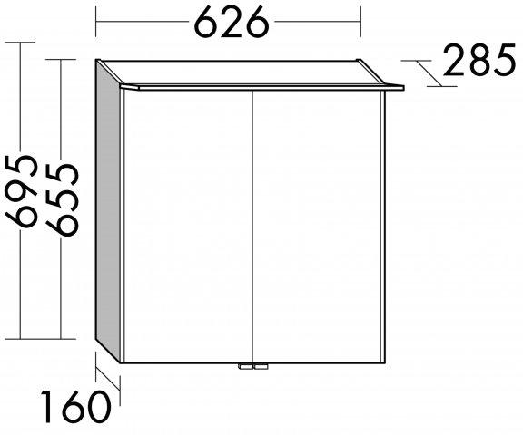 burgbad cala neu spiegelschrank mit beleuchtung breite 626 mm sepy063. Black Bedroom Furniture Sets. Home Design Ideas