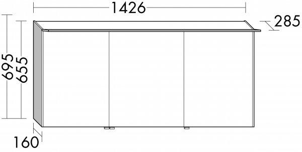 burgbad cala neu spiegelschrank mit beleuchtung rechts breite1426 mm. Black Bedroom Furniture Sets. Home Design Ideas