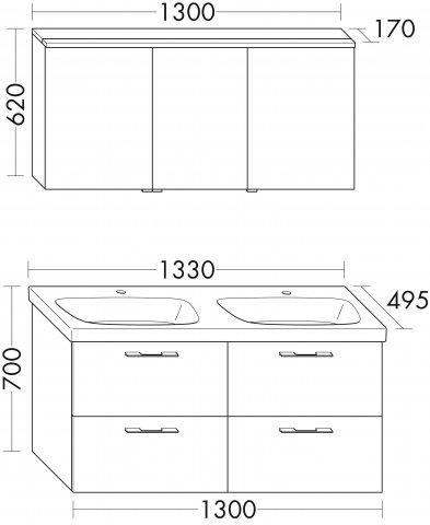 burgbad teno set spiegelschrank 130cm waschtisch 133cm. Black Bedroom Furniture Sets. Home Design Ideas