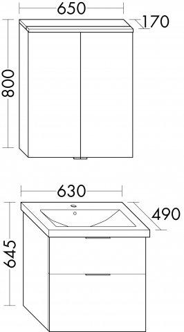 Burgbad Eqio Set, SFAN065, bestehend aus Spiegelschrank, Keramik-Waschtisch und Waschtischunterschrank, Breite: 650 mm, Farbe (Front/Korpus): Weiß Hochglanz / Weiß Glänzend, Griff G0146