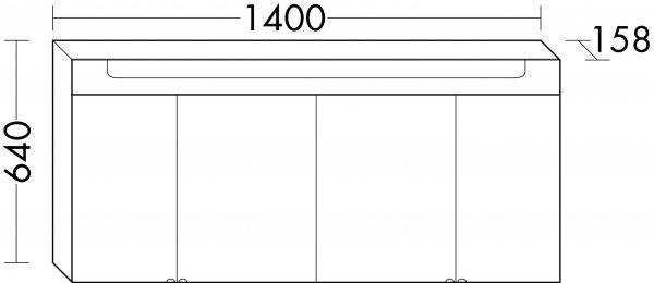 burgbad chiaro spiegelschrank breite 1400 mm mit 4 t ren. Black Bedroom Furniture Sets. Home Design Ideas