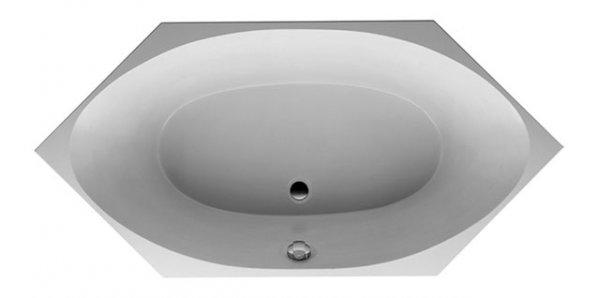 Duravit 2x3 Sechseck-Badewanne 190x90cm, zwei Rückenschrägen, 700023, Einbauversion
