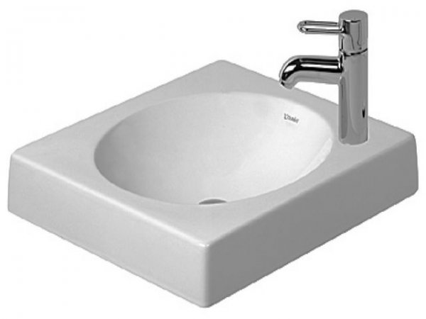 Duravit Architec 500mm overflow basin without overflow, tap hole pre-punched