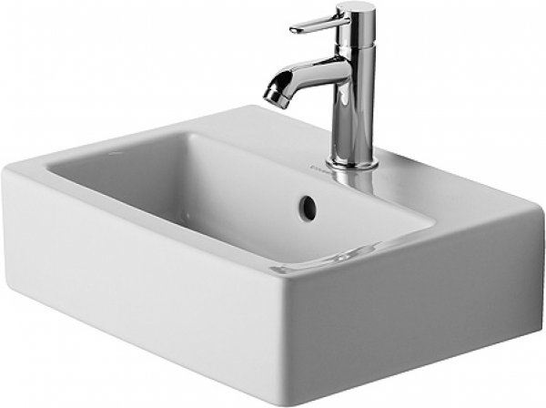 Duravit Vero 45cm hand basin, with overflow, with tap hole bench, with tap hole, polished
