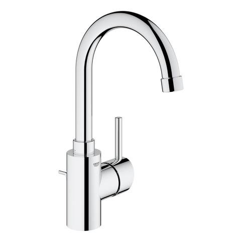 Grohe Concetto single lever basin mixer, L-size with waste, swivelling spout